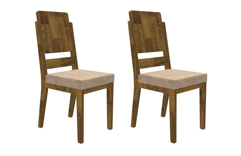 Jogo 2 Cadeiras Esmeralda Amadeirado com Suede Bege - RV Móveis