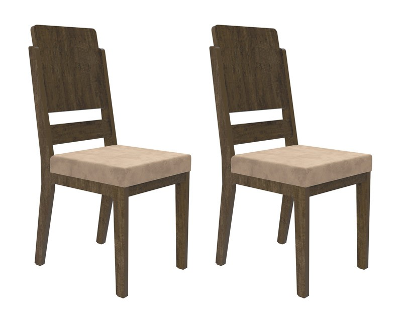 Jogo de 2 Cadeiras Esmeralda Imbuia com Pena Caramelo - RV Móveis
