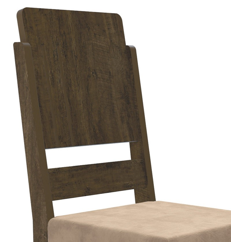 Jogo 2 Cadeiras Esmeralda Imbuia com Suede Bege - RV Moveis