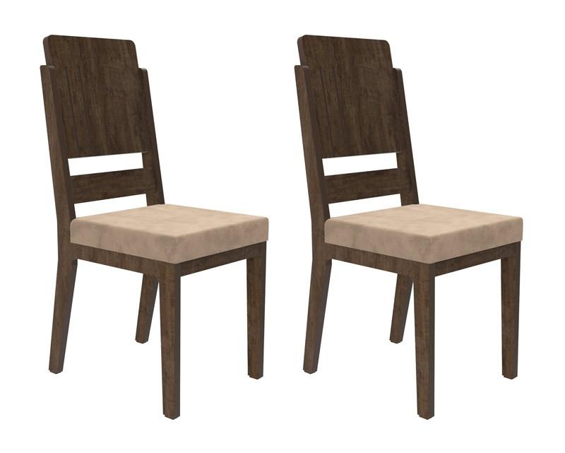 Jogo de 2 Cadeiras Esmeralda Noce com Pena Caramelo - RV Móveis  - MoveisAqui - Loja de móveis online!