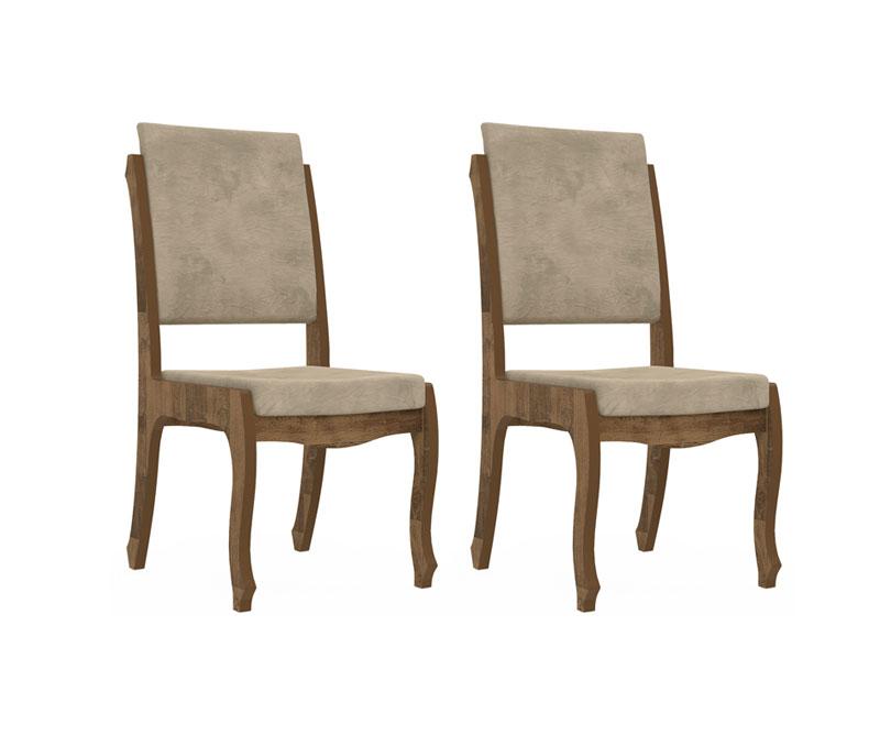 Jogo 2 Cadeiras Onix II Amadeirado com Suede Bege - RV Moveis
