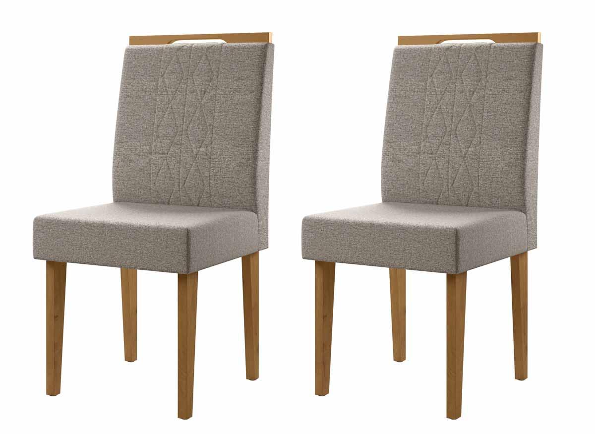 Jogo de 2 Cadeiras Creta Madero Canela com Titânio - Lukaliam Móveis