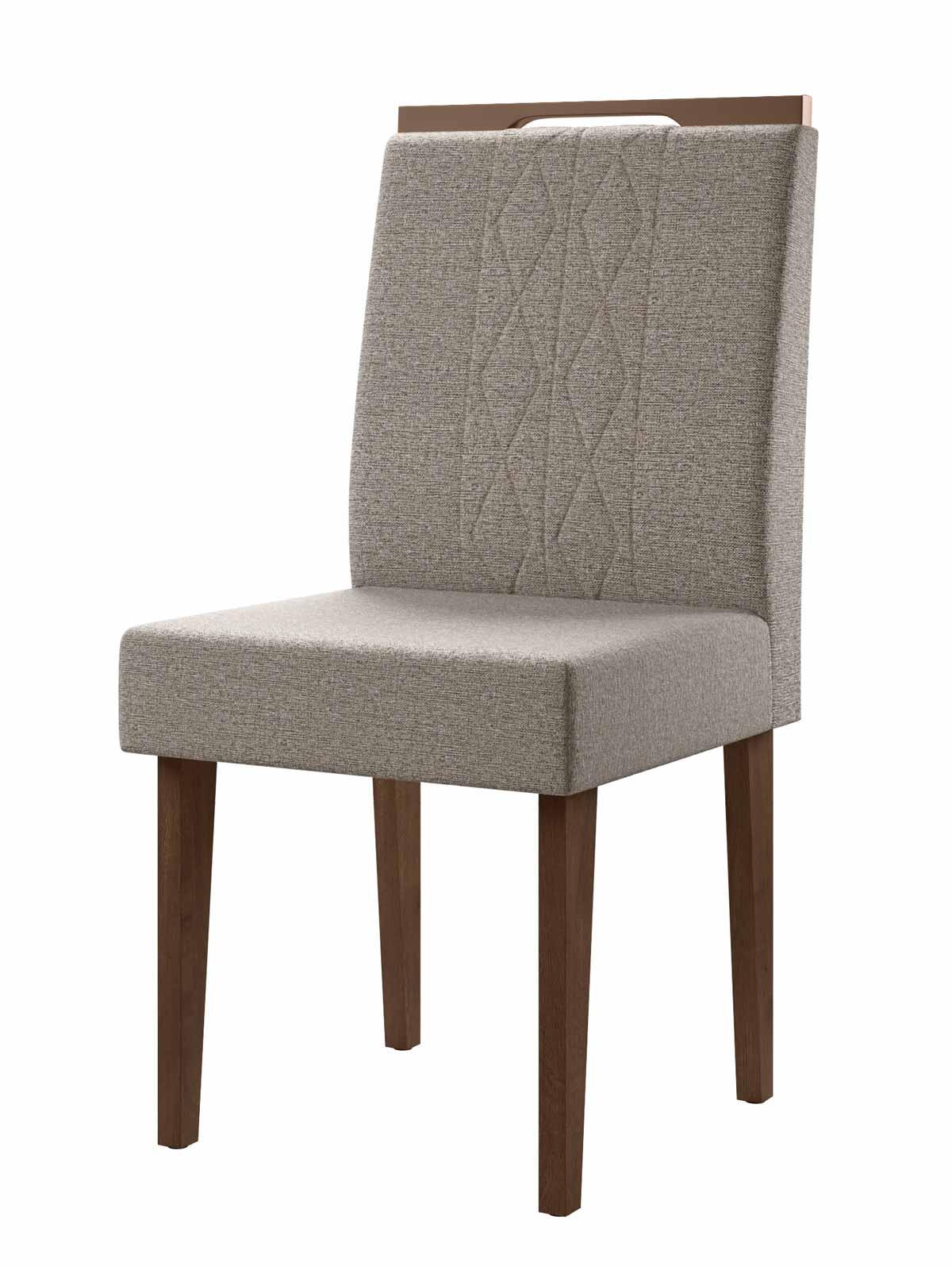 Jogo de 2 Cadeiras Creta Madero Noce com Titânio - Lukaliam Móveis