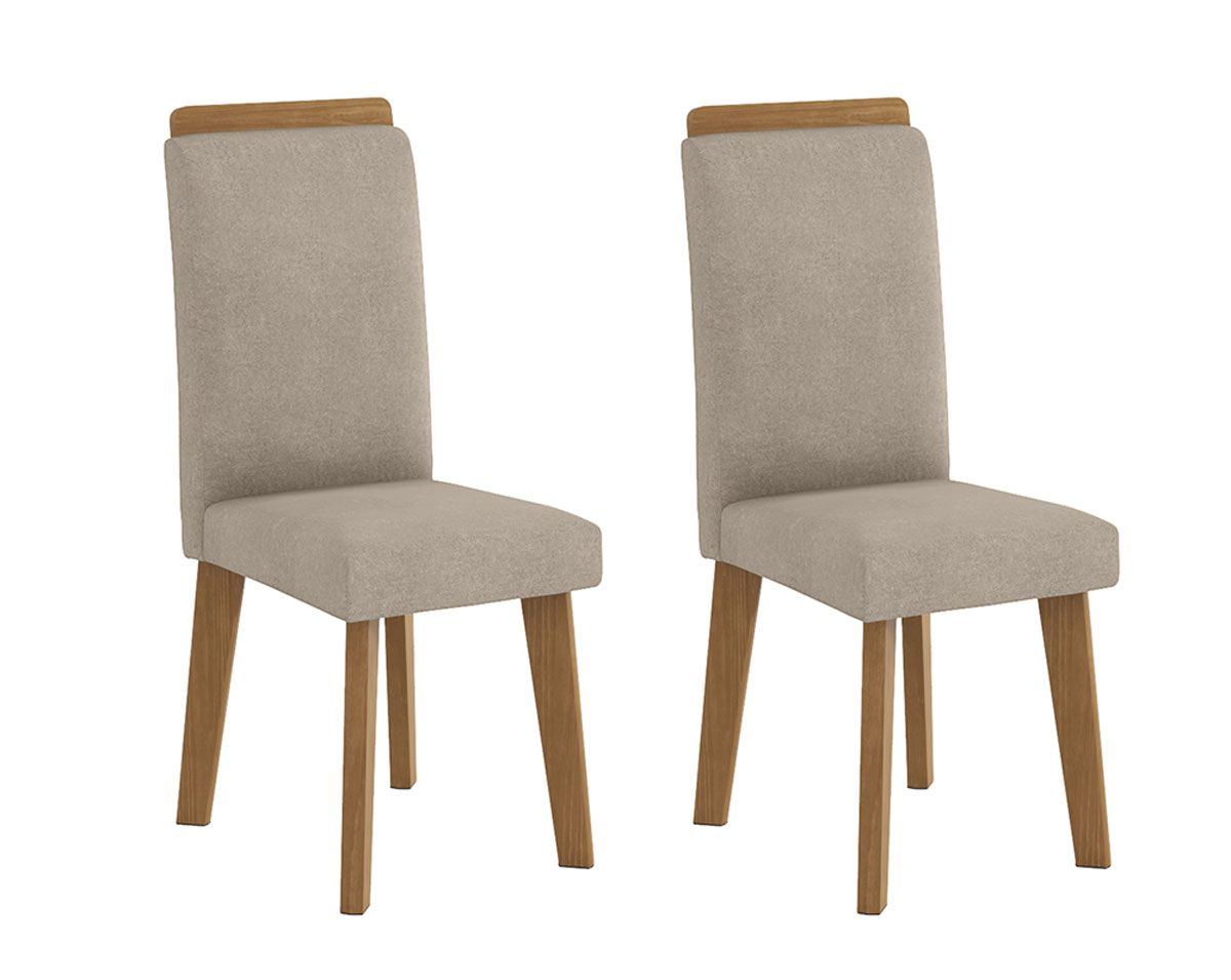 Jogo de 2 Cadeiras Diamante Pé Oblongo Pena Caramelo - RV Móveis