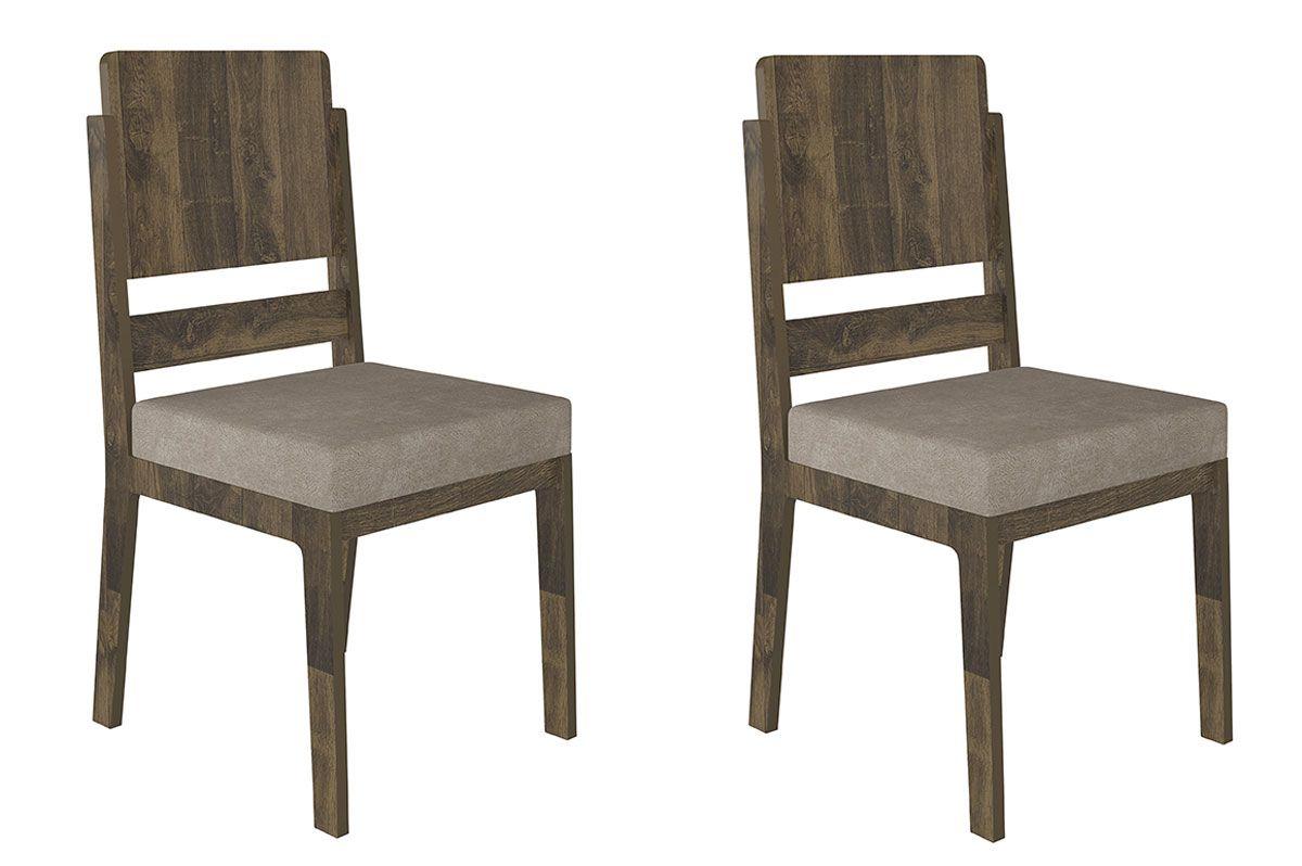 Jogo de 2 Cadeiras Esmeralda Amadeirado com Pena Caramelo - RV Móveis