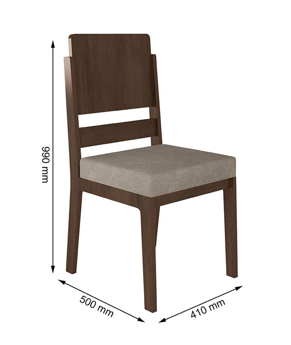 Jogo de 2 Cadeiras Esmeralda Noce com Pena Caramelo - RV Móveis