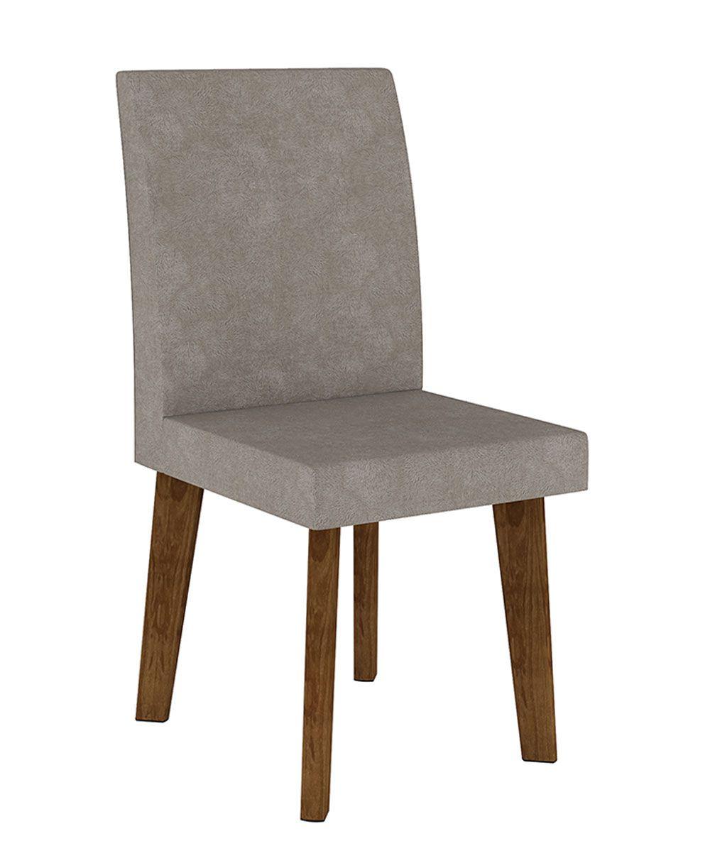 Jogo de 2 Cadeiras Jade Pé Oblongo Pena Caramelo - RV Móveis