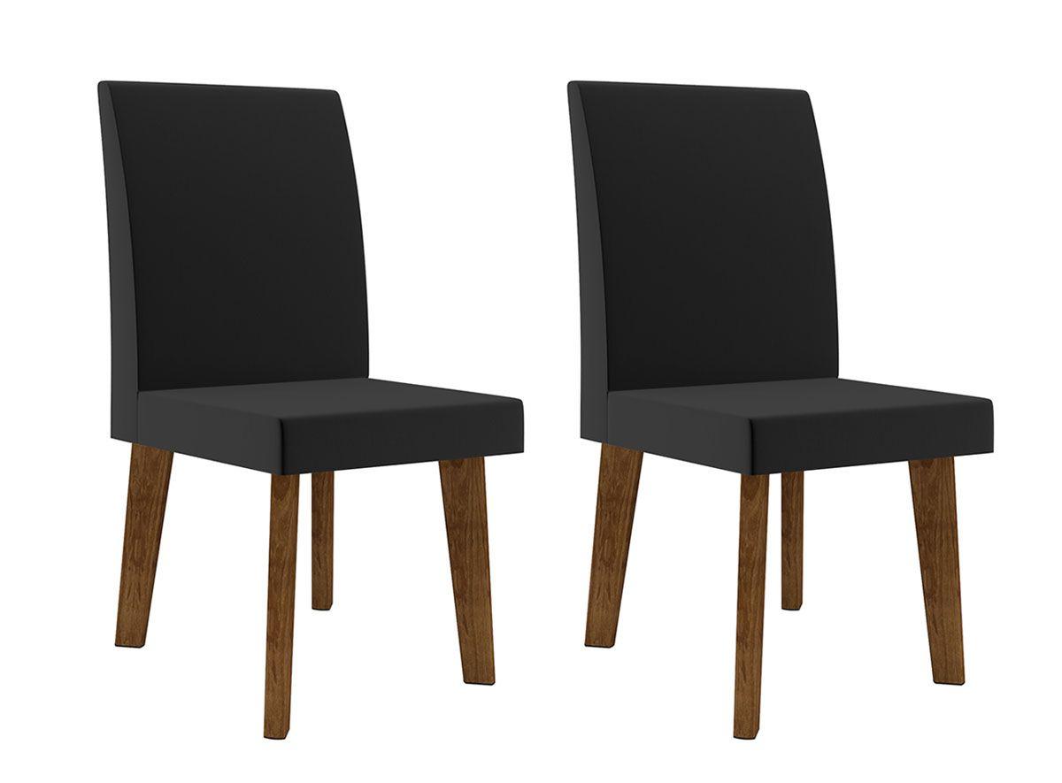 Jogo de 2 Cadeiras Jade Pé Oblongo Aveludado Preto - RV Móveis