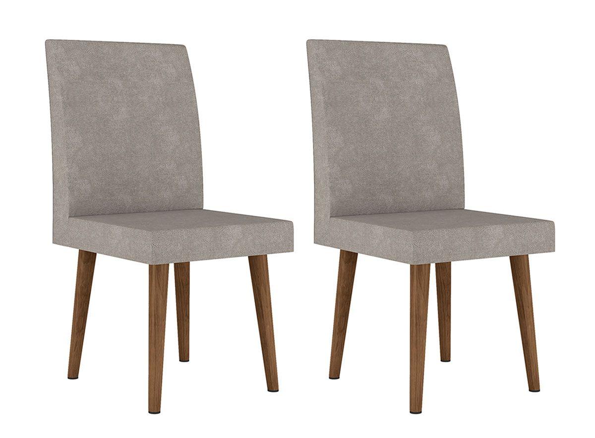 Jogo de 2 Cadeiras Jade Pé Palito Pena Caramelo - RV Móveis