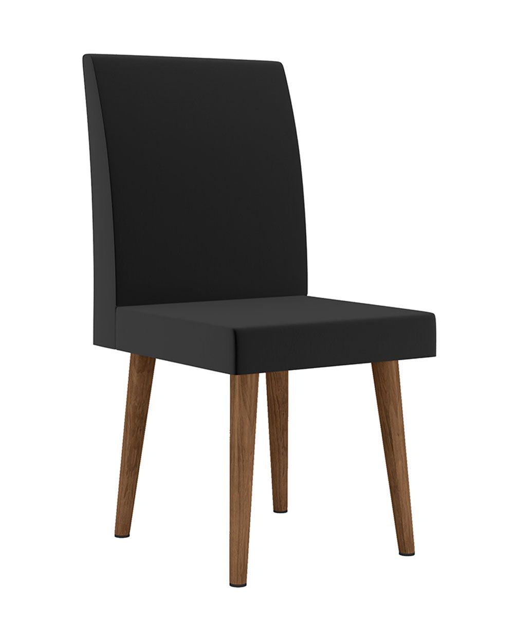 Jogo de 2 Cadeiras Jade Pé Palito Aveludado Preto - RV Móveis