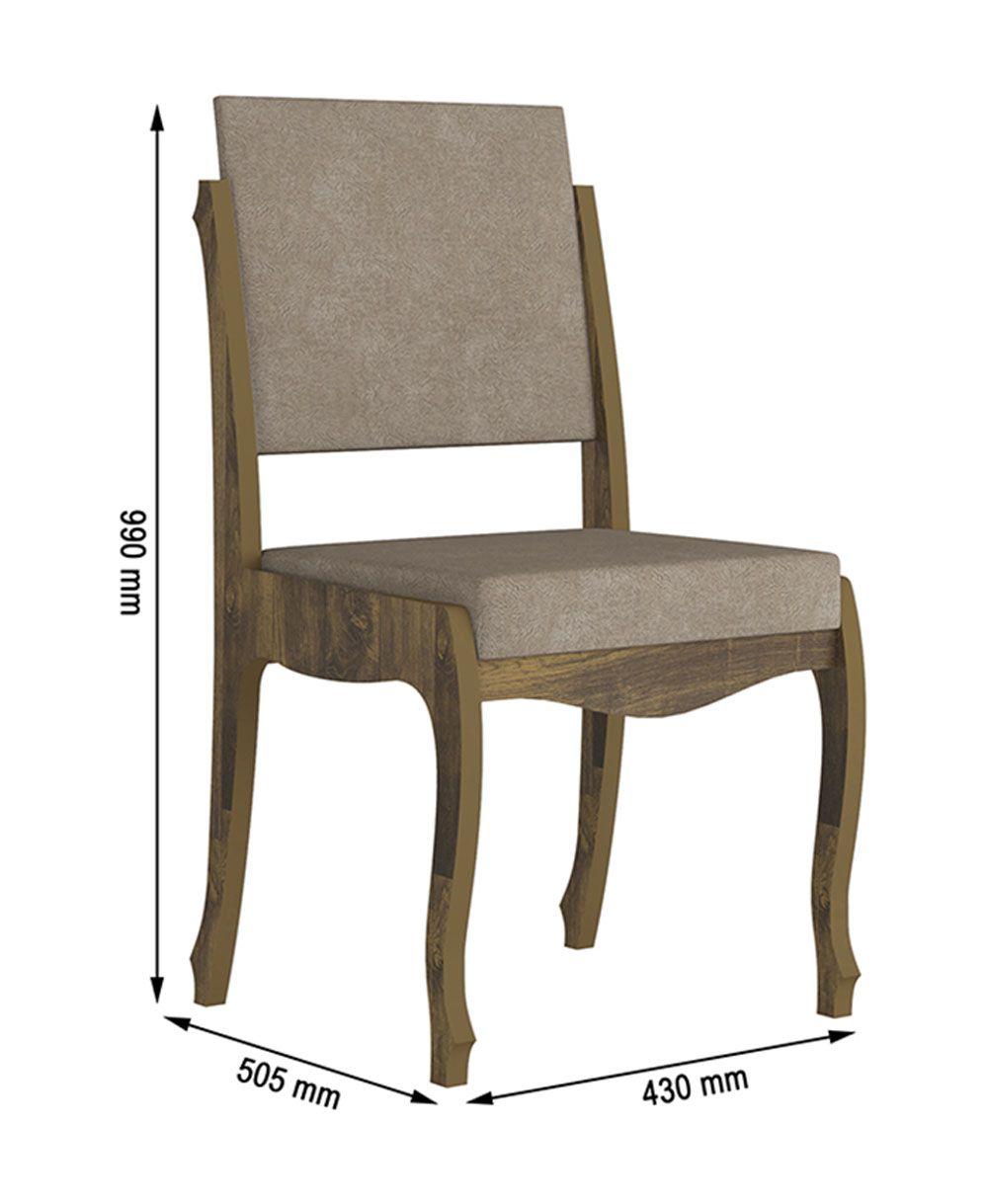 Jogo de 2 Cadeiras Onix II Amadeirado com Pena Caramelo - RV Móveis