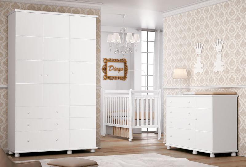 Jogo de Quarto para Bebê Completo Diogo Branco Brilho - Imaza Móveis