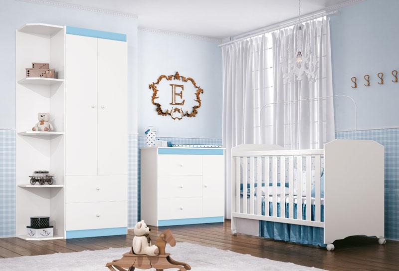 Jogo de Quarto para Bebe Completo Encanto com Sapateira Branco com Azul - Imaza Moveis