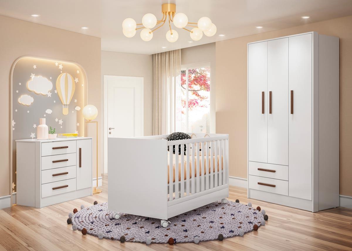 Jogo de Quarto para Bebê Completo Floc com Rodízios Branco - MoveisAqui