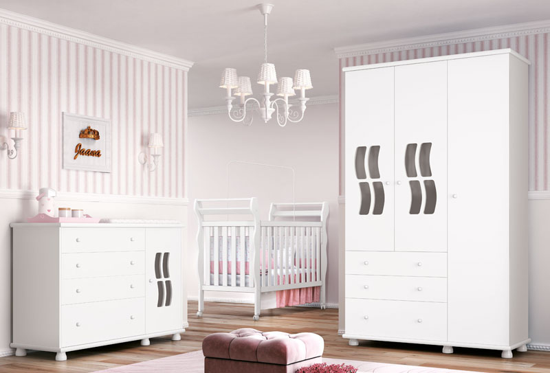 Jogo de Quarto para Bebe Completo Jaana Branco Brilho - Imaza Moveis