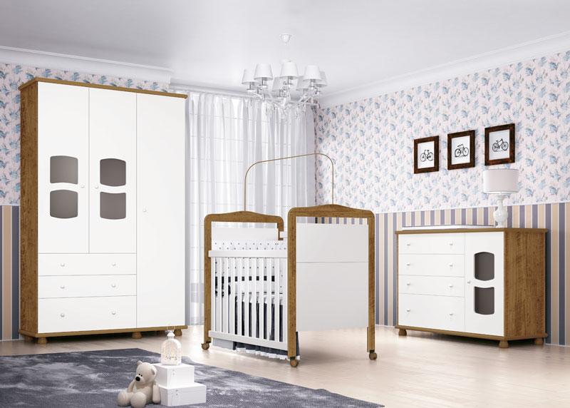 Jogo de Quarto para Bebe Completo Nicoli Branco com Gengibre - Imaza Moveis