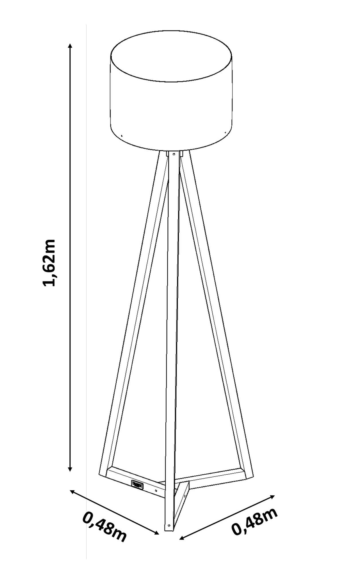 Luminária de Chão Classic Off White com Amêndoa - Tebarrot Móveis