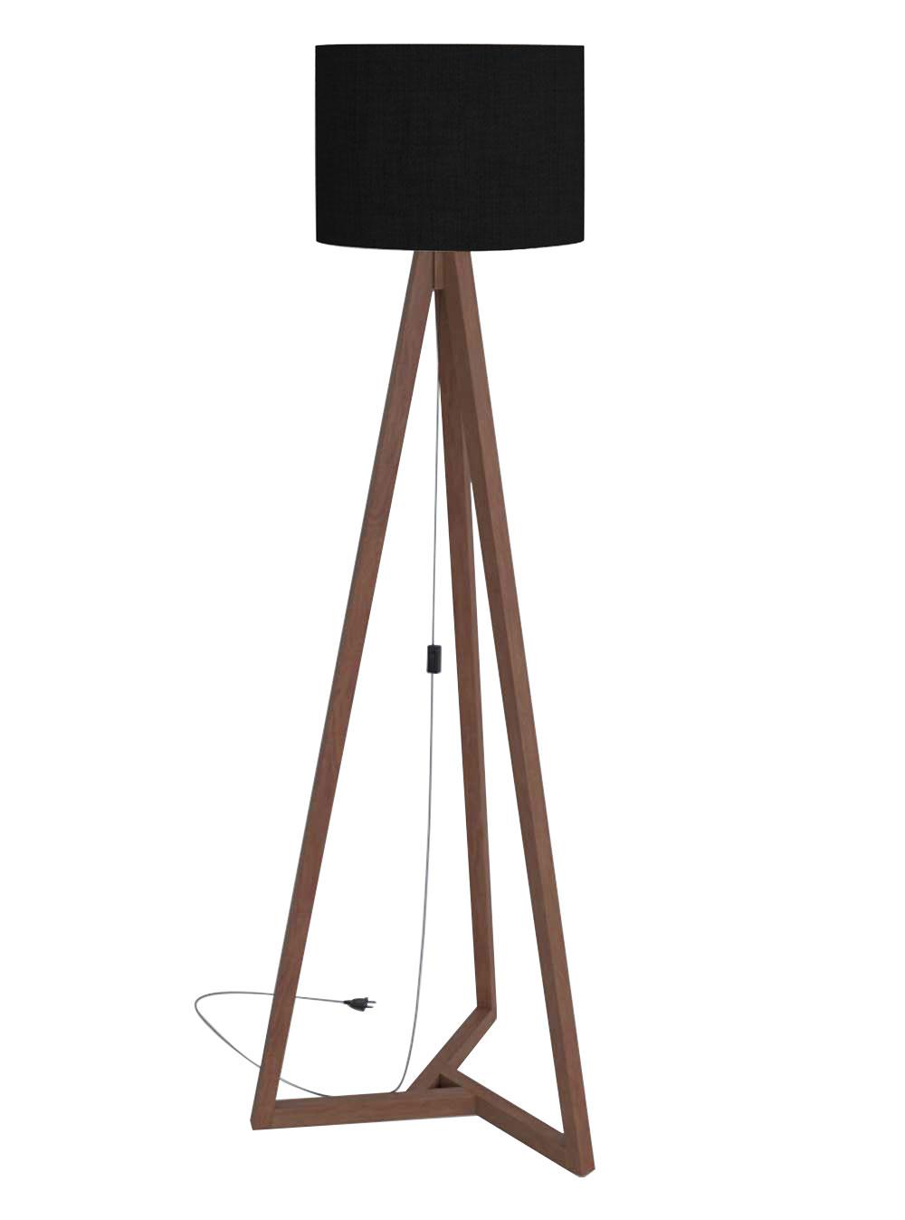 Luminária de Chão Classic Preto com Amêndoa - Tebarrot Móveis