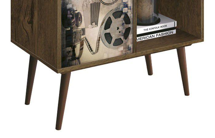 Mesa de Apoio Lateral Duna Nogal Rustico com Cinema - Edn Móveis