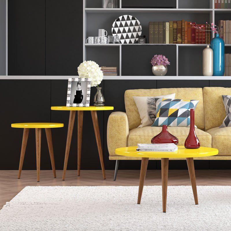 Mesa de Apoio Legs Amarelo - Patrimar Móveis