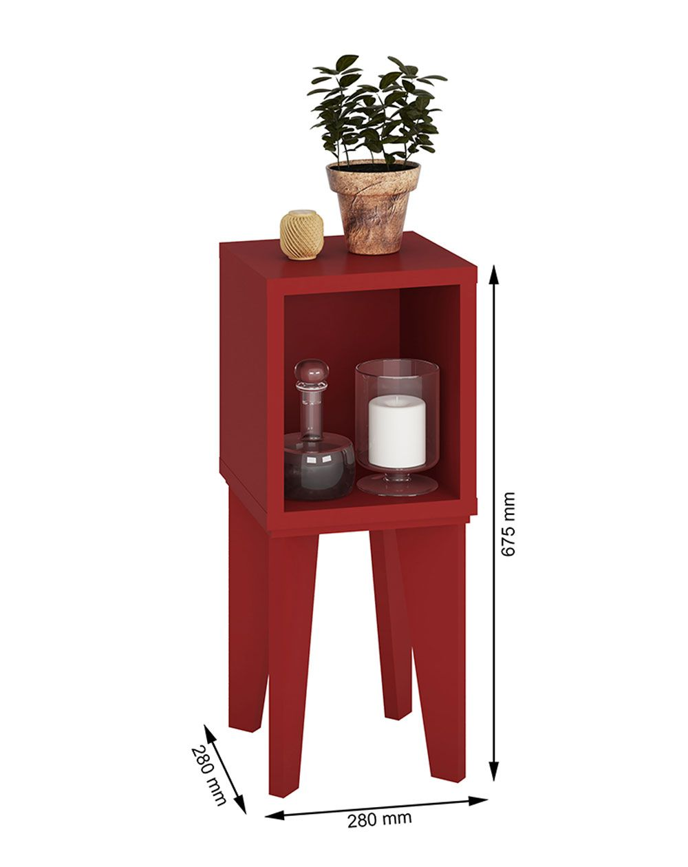Mesa de Canto Tubi Vermelho - RV Móveis