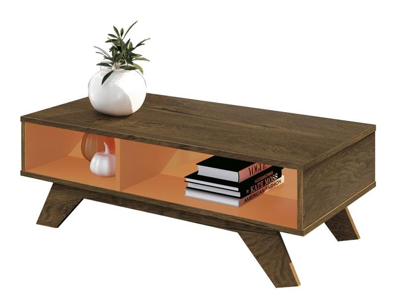 Mesa de Centro Alfa Nogal Rústico com Laranja - Edn Móveis  - MoveisAqui - Loja de móveis online!