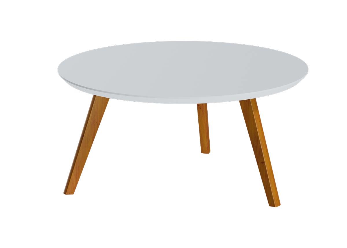 Mesa de Centro Classic Redonda Branco Acetinado - Imcal Móveis