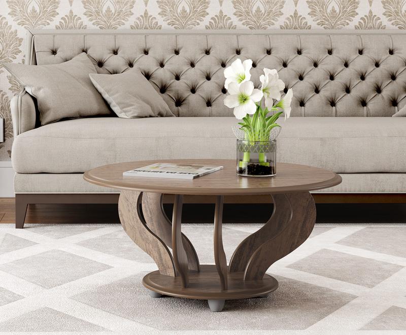 Mesa de Centro Cristal Imbuia - Patrimar Móveis  - MoveisAqui - Loja de móveis online!