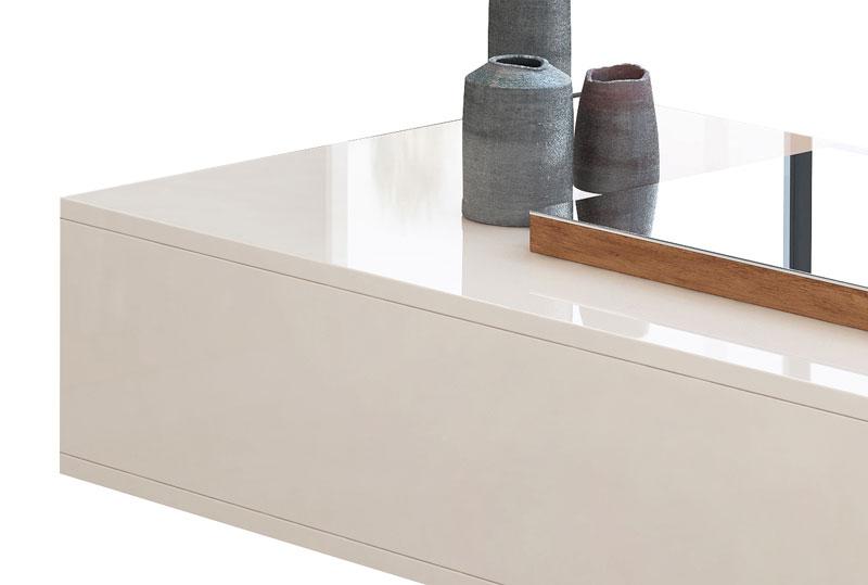 Mesa de Centro Milão Off White com Amêndoa - Lukaliam Móveis