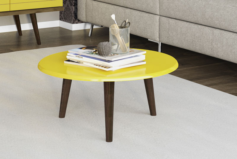 Mesa de Centro Retrô Brilhante Amarelo - Móveis Bechara