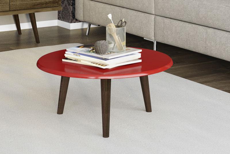 Mesa de Centro Retrô Brilhante Vermelho - Móveis Bechara