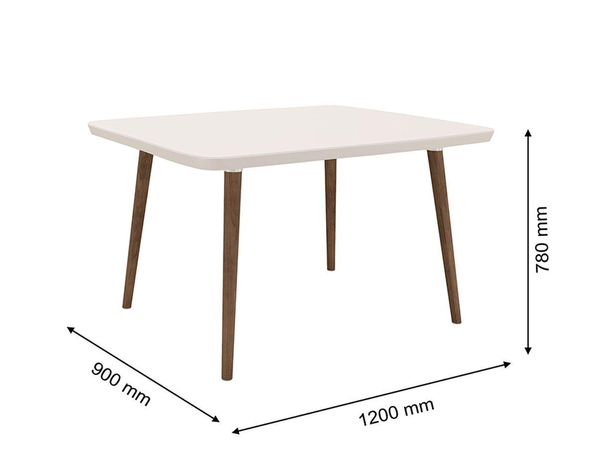 Mesa de Jantar com 4 Cadeiras Agata Pés Palito Off White com Pena Caramelo - RV Móveis
