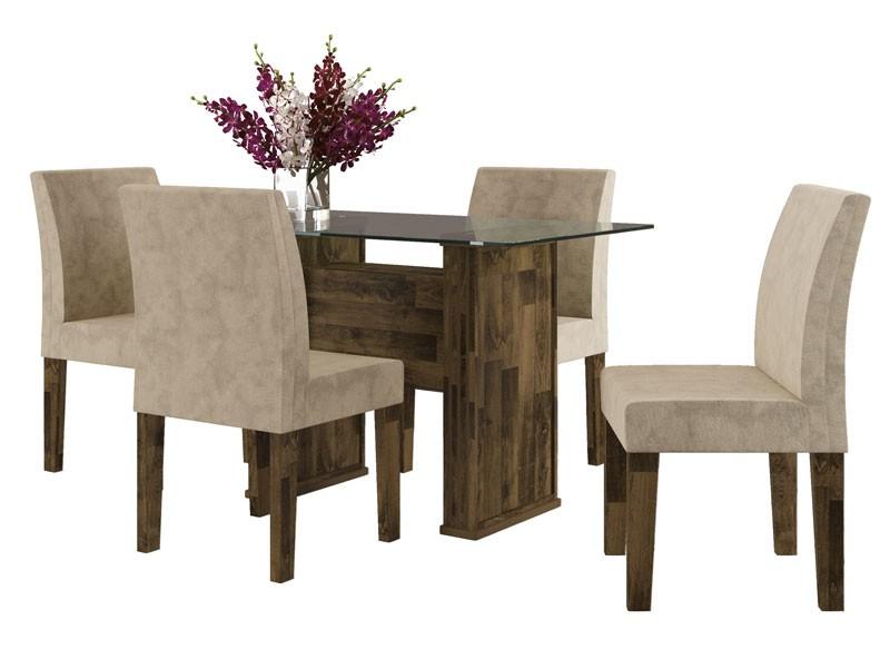 Mesa de Jantar com 4 Cadeiras Europa Amadeirado com Pena Caramelo - RV Móveis