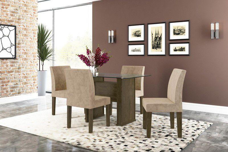 Mesa de Jantar com 4 Cadeiras Europa Imbuia com Pena Caramelo - RV Móveis