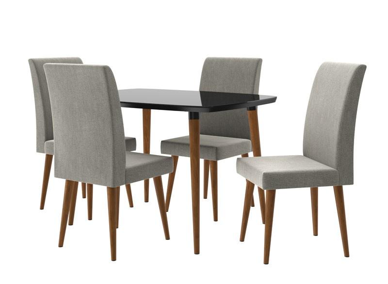 Mesa de Jantar com 4 Cadeiras Jade Black com Naturale Cinza - RV Móveis