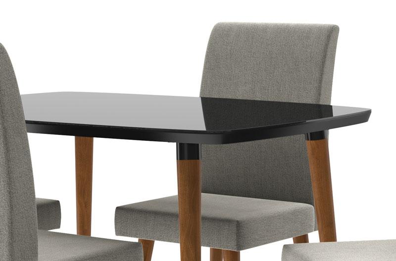 Mesa de Jantar com 4 Cadeiras Jade Black com Cinza Lunar - RV Móveis