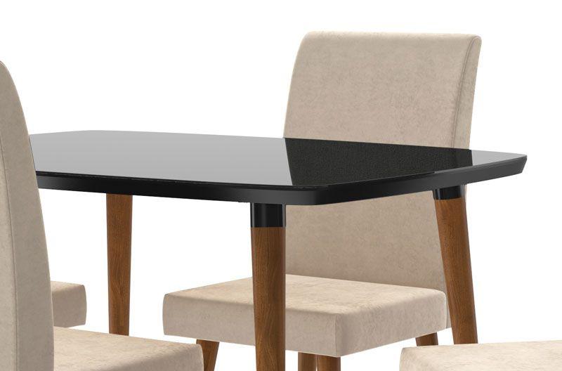 Mesa de Jantar com 4 Cadeiras Jade Black com Pena Caramelo - RV Móveis