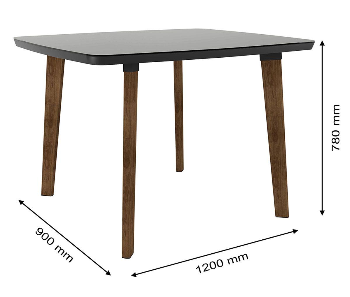 Mesa de Jantar com 4 Cadeiras Jade Pés Oblongo Black com Pena Caramelo - RV Móveis