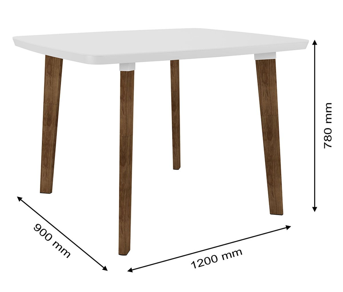 Mesa de Jantar com 4 Cadeiras Jade Pés Oblongo Branco Clean com Pena Caramelo - RV Móveis