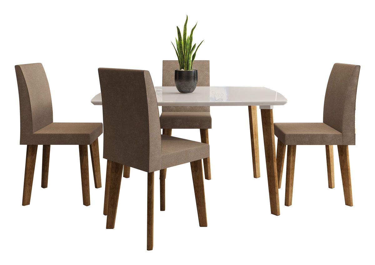 Mesa de Jantar com 4 Cadeiras Jade Pés Oblongo Off White com Pena Caramelo - RV Móveis