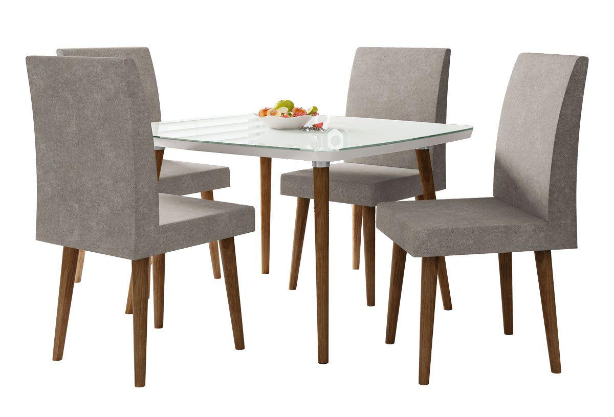 Mesa de Jantar com 4 Cadeiras Jade Pés Palito Branco Clean com Pena Caramelo - RV Móveis