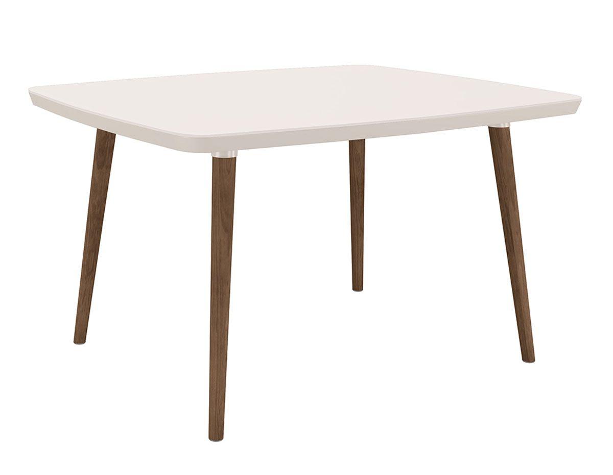 Mesa de Jantar com 4 Cadeiras Jade Pés Palito Off White com Pena Caramelo - RV Móveis