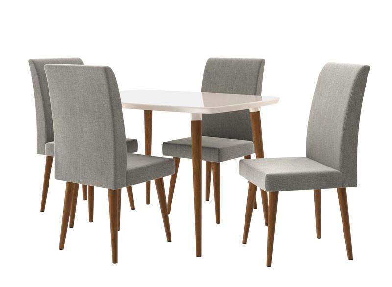 Mesa de Jantar com 4 Cadeiras Jade Off White com Cinza Lunar - RV Móveis