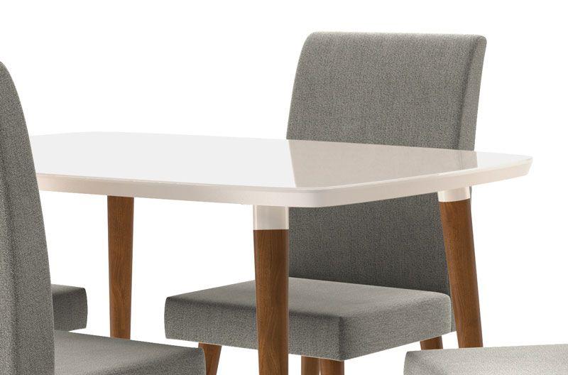 Mesa de Jantar com 4 Cadeiras Jade Off White com Naturale Cinza - RV Móveis