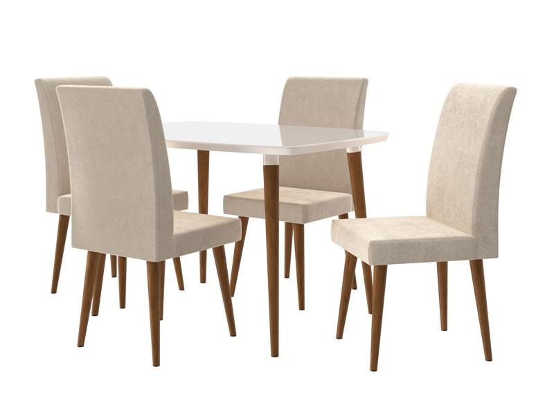 Mesa de Jantar com 4 Cadeiras Jade Off White com Pena Caramelo - RV Móveis