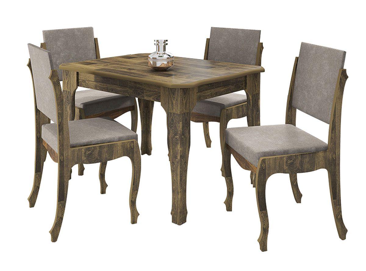 Mesa de Jantar com 4 Cadeiras Ônix Amadeirado com Pena Caramelo - RV Móveis