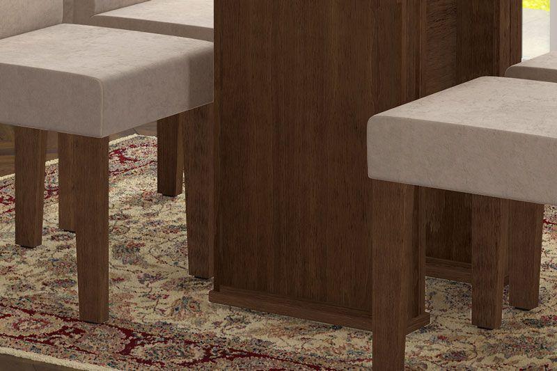 Mesa de Jantar com 4 Cadeiras Zafira Castanho com Pena Caramelo - RV Móveis