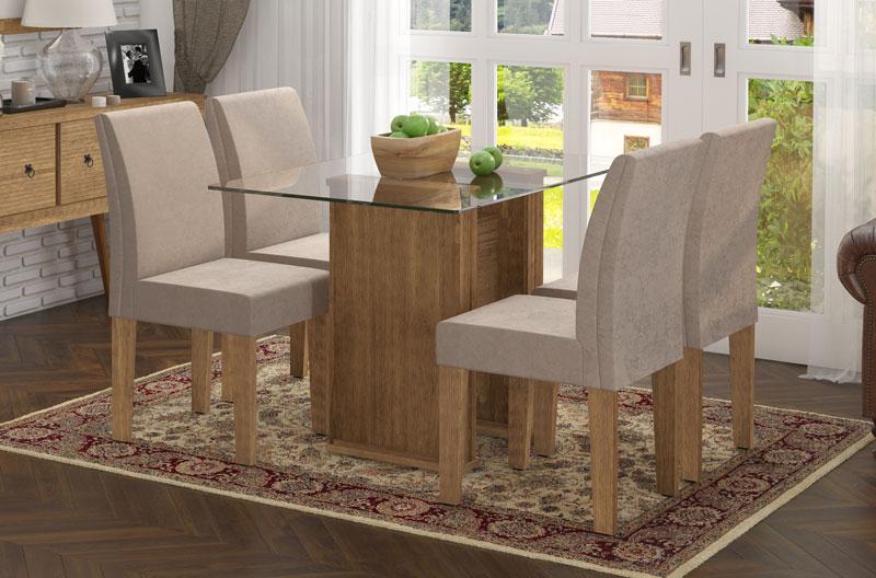 Mesa de Jantar com 4 Cadeiras Zafira Naturale com Suede Bege - RV Móveis