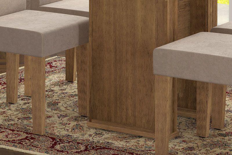 Mesa de Jantar com 4 Cadeiras Zafira Naturale com Pena Caramelo - RV Móveis
