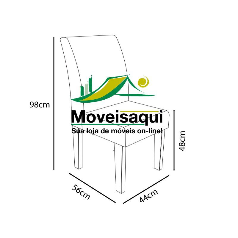 Mesa de Jantar com 6 Cadeiras Europa Amadeirado com Pena Caramelo - RV Móveis